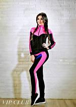 Спортивный костюм женский черный с малиновыми вставками, фото 3