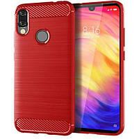 Чохол накладка Polished Carbon для Xiaomi Redmi Note 7 червоний