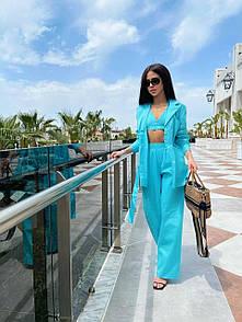 Легкий костюм льняной с свободной рубашкой и штанами прогулочный женский в голубом цвете (р. S, M) 71ks1841R