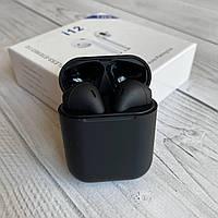 Беспроводные наушники i12 tws блютуз inpods 12 в черном цвете сенсорные с микрофоном