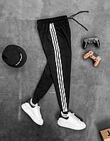 Мужские спортивные штаны черные с белыми полосками рефлективными стильная одежда для парней Kor23