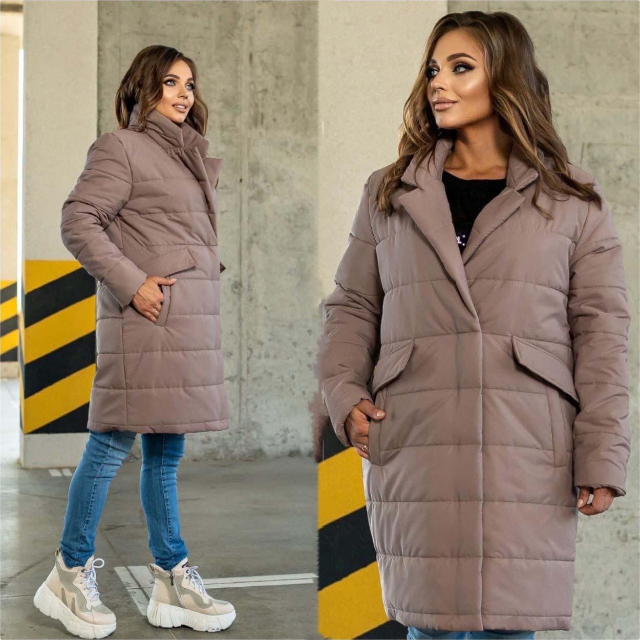 """Жіноче батальне пальто 295 """"Кишені Клапани"""" в різних кольорах"""