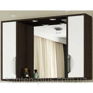 """Зеркало для ванной комнаты с подсветкой и 2 пеналами """" Принц"""" 11-90 см венге, фото 2"""