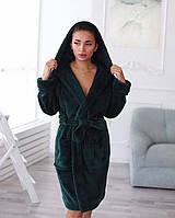 Женский махровый халат зеленого цвета