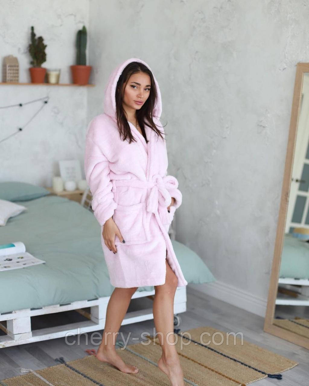 Нежный женский махровый короткий халат