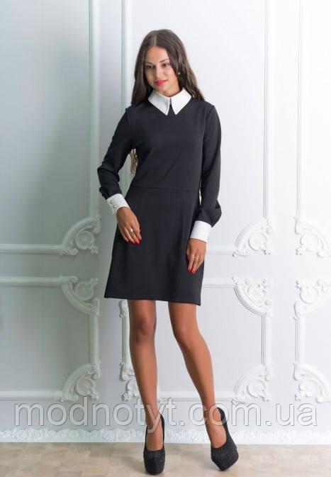 Платье черное женское офисное , женское черное платье с белым воротником -