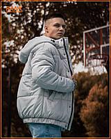 Мужская зимняя куртка Over base серая теплая с капюшоном