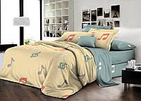 Двоспальний комплект постільної білизни євро 200*220 ранфорс (16739) TM KRISPOL Україна