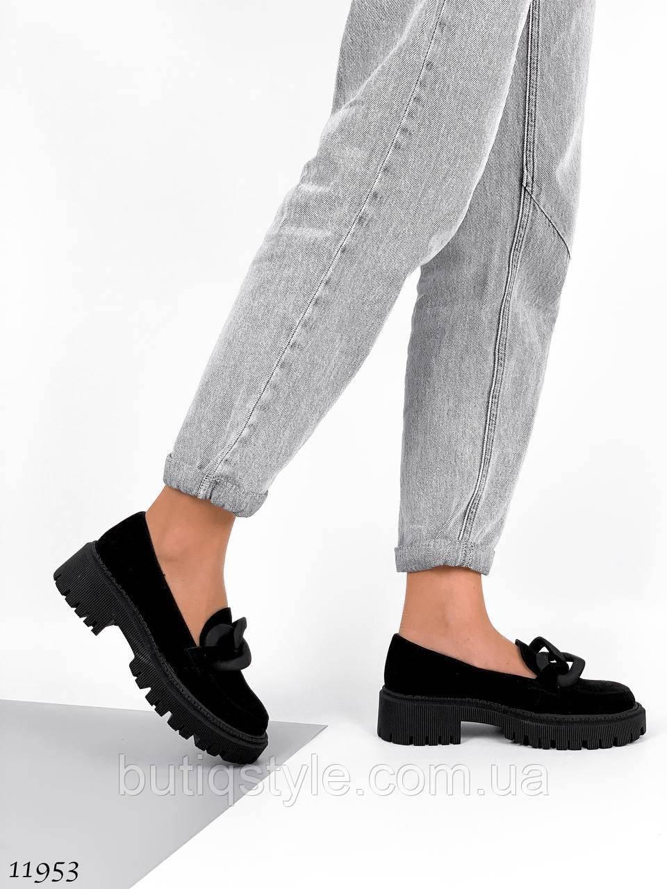 Черные туфли лоферы натуральная замша с цепочкой
