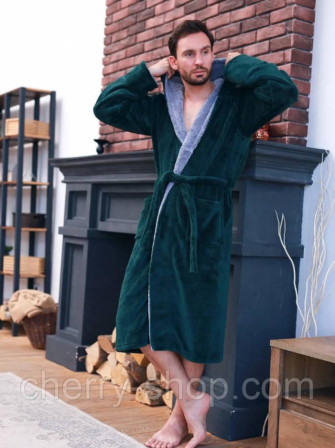 Махровый мужской халат изумруд/светло серый