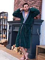 Махровий чоловічий халат смарагд/світло сірий, фото 1