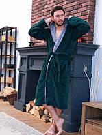 Махровий чоловічий халат смарагд/світло сірий