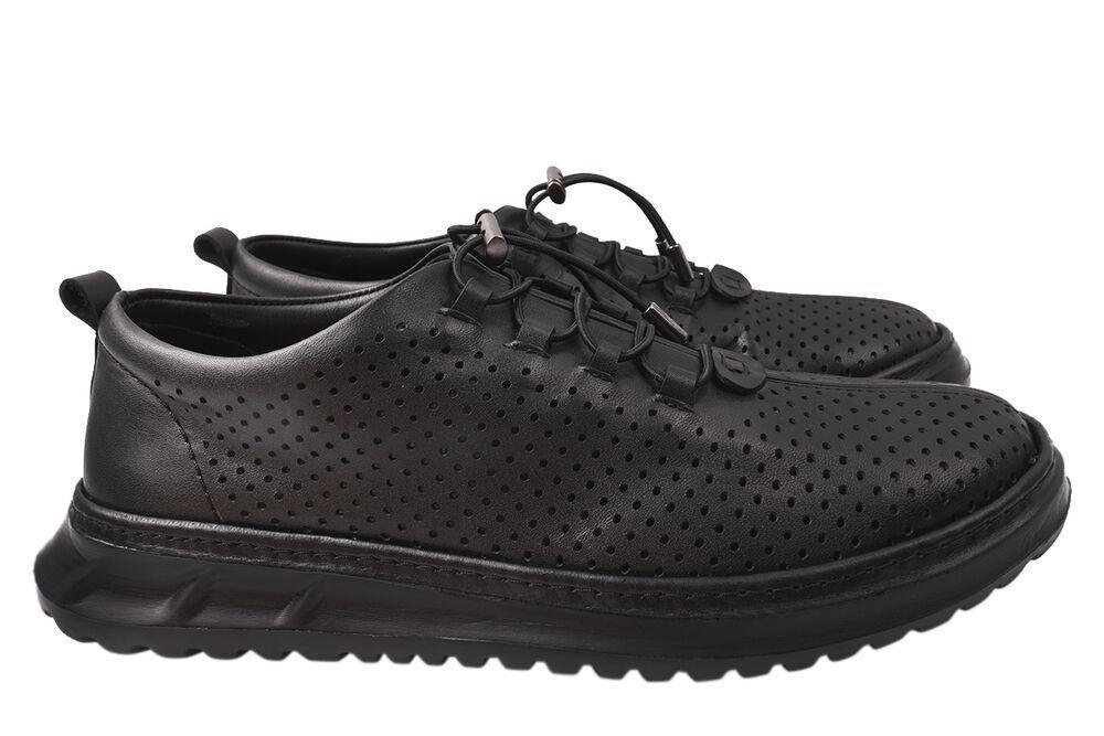 Кросівки чоловічі з натуральної шкіри, на низькому ходу, на шнурівці, колір чорний, Туреччина Ridge