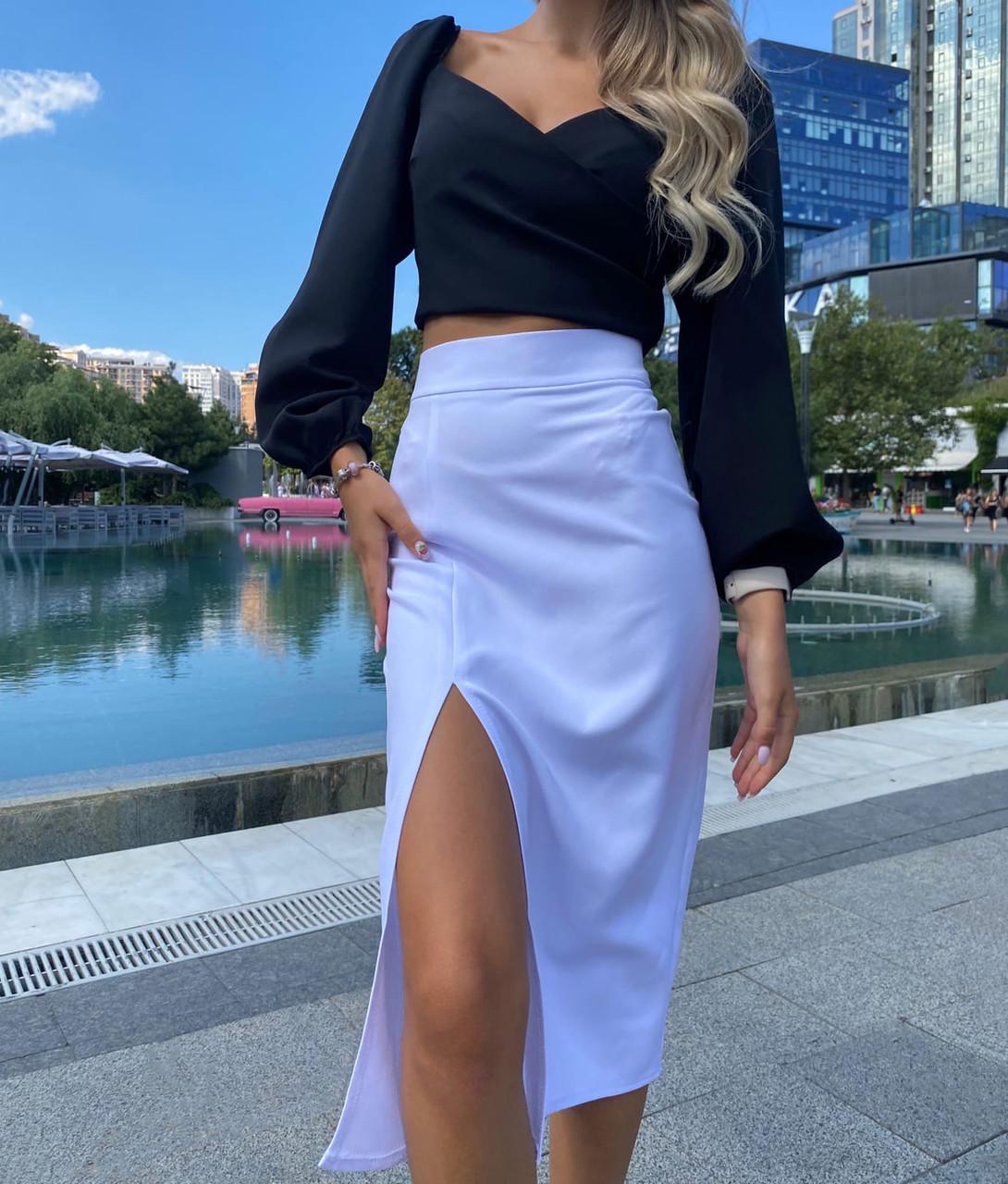 Элегантная женская юбка миди с разрезом
