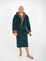 Махровый мужской халат с капюшоном темно зеленого цвета