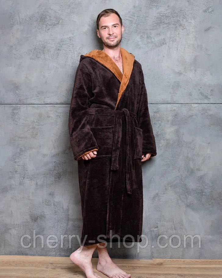 Махровый мужской халат с капюшоном шоколадного цвета