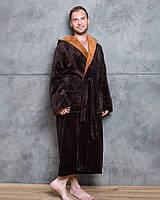 Махровий чоловічий халат з капюшоном шоколадного кольору, фото 1