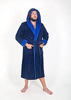 Махровый мужской халат с капюшоном в цвете  темно синий/электрик