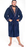 Махровый мужской халат с капюшоном в стильной расцветке, фото 1