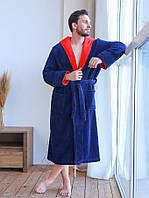 Махровий чоловічий халат з капюшоном в стильному кольорі