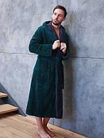 Теплый махровый мужской халат с капюшоном