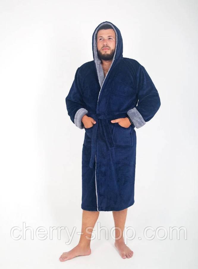 Теплый махровый мужской халат с капюшоном и карманами