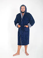 Теплый махровый мужской халат с капюшоном и карманами, фото 1
