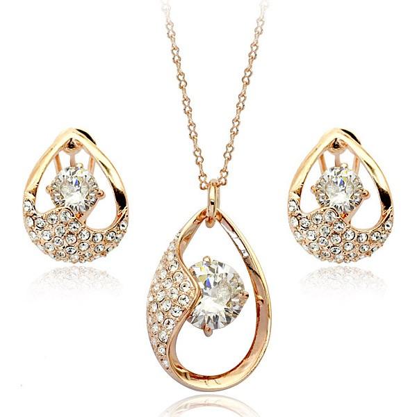 Комплект ГАЛАНТНОСТЬ ювелирная бижутерия золото 18К декор кристаллы Swarovski