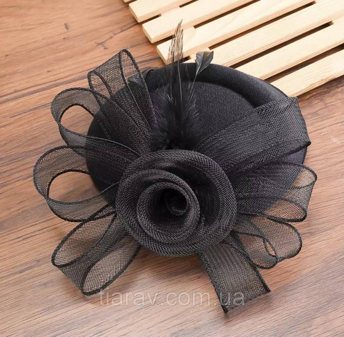 Шляпка с вуалью, шляпа чёрная с вуалью