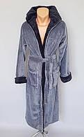 Теплий махровий чоловічий халат з капюшоном і кишенями