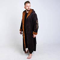 Теплый махровый мужской халат с надписью
