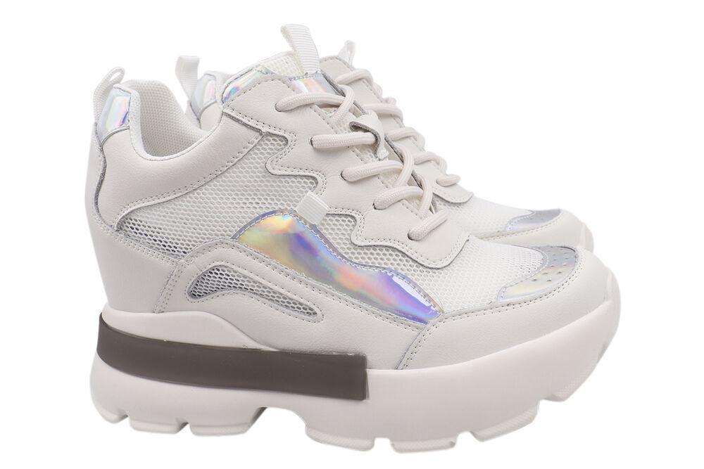 Кросівки жіночі з натуральної шкіри, на платформі, на шнурівці, білі, Vikonty