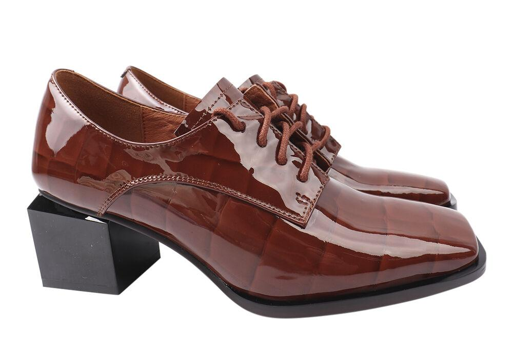 Туфли женские из натуральной лаковой кожи, на большом каблуке, коричневые, Brocoly