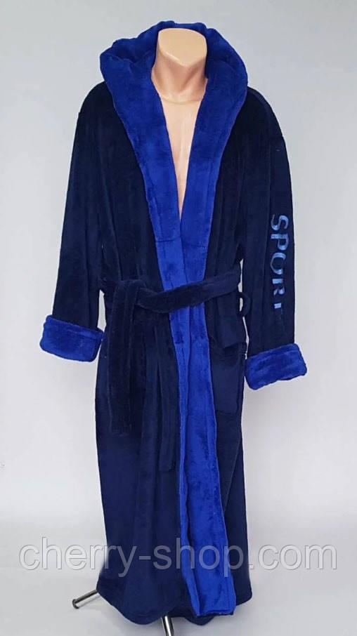 Теплый темно синий махровый мужской халат с надписью