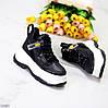 Эффектные черные женские кроссовки сникерсы на белой платформе, фото 6