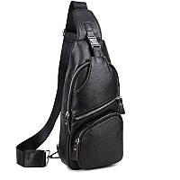 Сумка-мессенджер на грудь мужская кожаная черная Tiding Bag M38-8150A