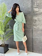Легке приталене однотонне плаття по коліно з софта в горошок під пояс Розмір: 42-44, 46-48, фото 1