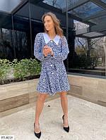 Стримане миле бавовняне плаття-сорочка короткий на гудзиках з білим коміром р: 42-44, 46-48 арт. 210, фото 1