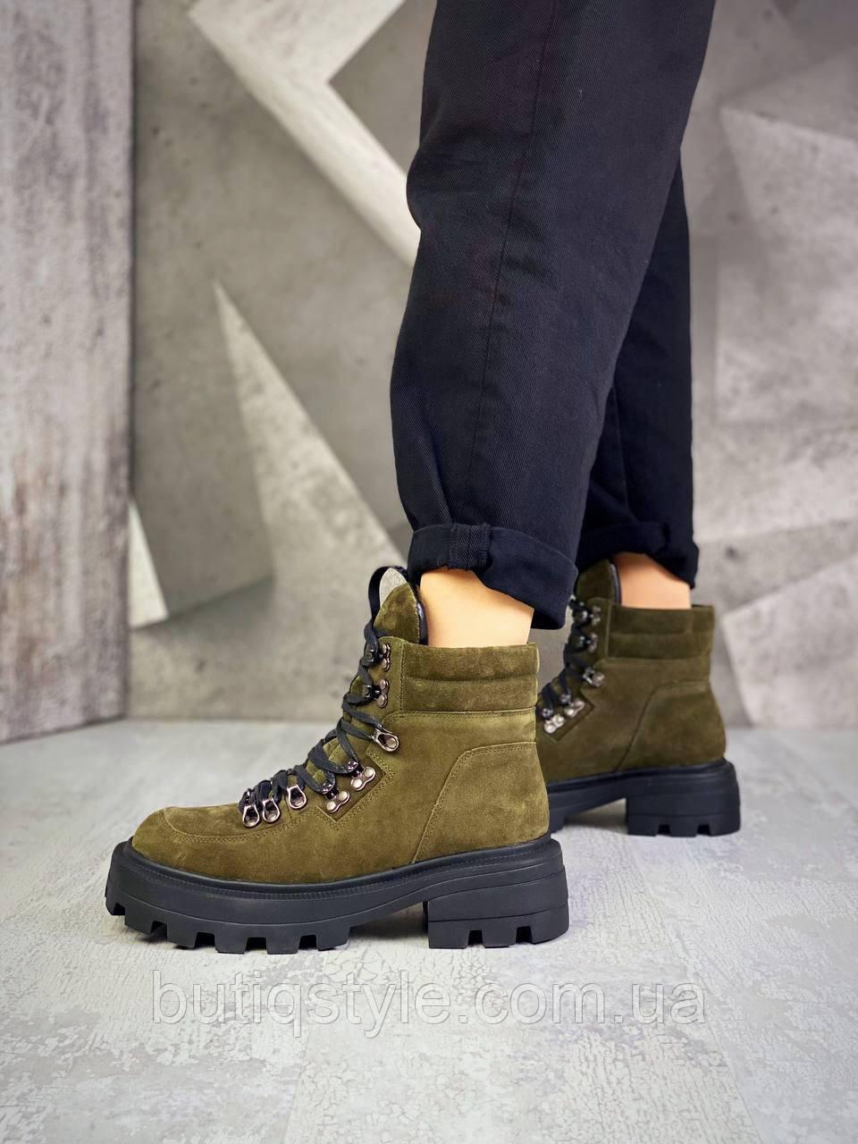 Жіночі черевики хакі натуральна замша Демі