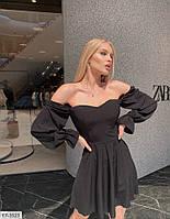 Эффектное короткое платье мини с юбкой клеш бэби дол с открытым верхом рукав фонарик р: 42-44, 44-46 арт. 203, фото 1