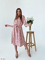 Жіночна сукня А-силуету нижче колін з квітковим принтом під пояс довжини міді Розмір: 42-46 арт. 218, фото 1