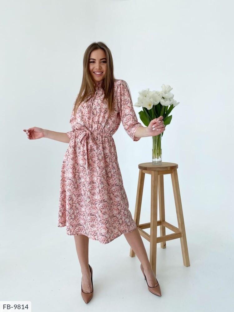 Жіночна сукня А-силуету нижче колін з квітковим принтом під пояс довжини міді Розмір: 42-46 арт. 218