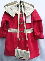 Весеннее кашемировое пальто для девочек с сумочкой