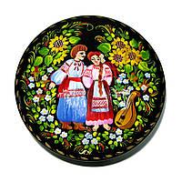 Шкатулка круглая , миниатюрная сюжетная роспись, фото 1