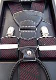 Мужские черные подтяжки Paolo Udini с бордовым узором, фото 4