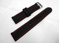 Ремешок каучуковый черный универсальный, красная прострочка (18,20,22,24,26 мм)