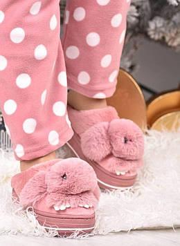 Тапочки кімнатні жіночі рожеві з пушком код Тп111