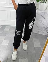 Стильні жіночі спортивні штани з Міккі Маусом, пояс з перестрочками, по низу манжет на гумці чорний