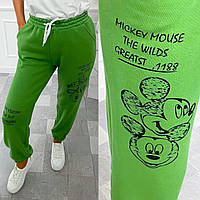 Стильні жіночі спортивні штани з Міккі Маусом, пояс з перестрочками, по низу манжет на гумці салатовий
