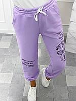 Стильні жіночі спортивні штани з Міккі Маусом, пояс з перестрочками, по низу манжет на гумці лаванда